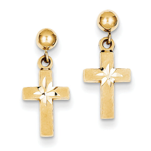 14k Satin & Diamond -Cut Cross Earrings
