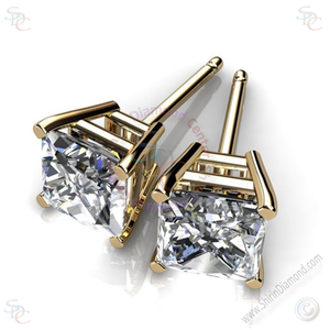 AAA Cubic Zirconia Princess cut Stud Earrings - Shirin Diamonds