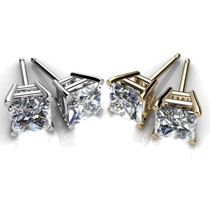 AAA Cubic Zirconia Princess cut Stud Earrings - shirin-diamonds
