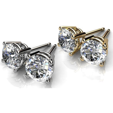 AAA Cubic Zirconia Round Brilliant or Princess cut Stud Earrings - shirin-diamonds