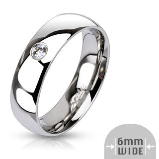 Stainless Steel Designer Wedding Band 6MM with Stone - Shirin Diamonds