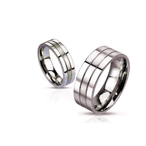 Stainless Steel Designer Wedding Band - shirin-diamonds