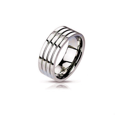 Stainless Steel Designer Satin Finished Wedding Band - shirin-diamonds