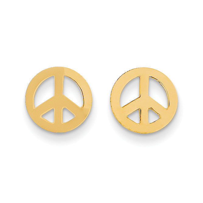14k Madi K Peace Sign Post Earrings SE2039 - shirin-diamonds