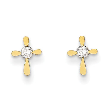 14k Madi K CZ Cross Post Earrings SE2331 - shirin-diamonds