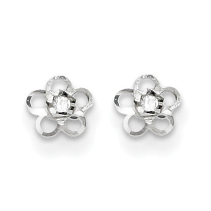 14k White Gold Madi K CZ Flower Post Earrings SE2403 - shirin-diamonds