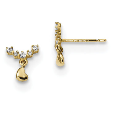14k Madi K Childrens Curved CZ Bar w/Tiny Heart Dangle Post Earrings SE2551 - shirin-diamonds