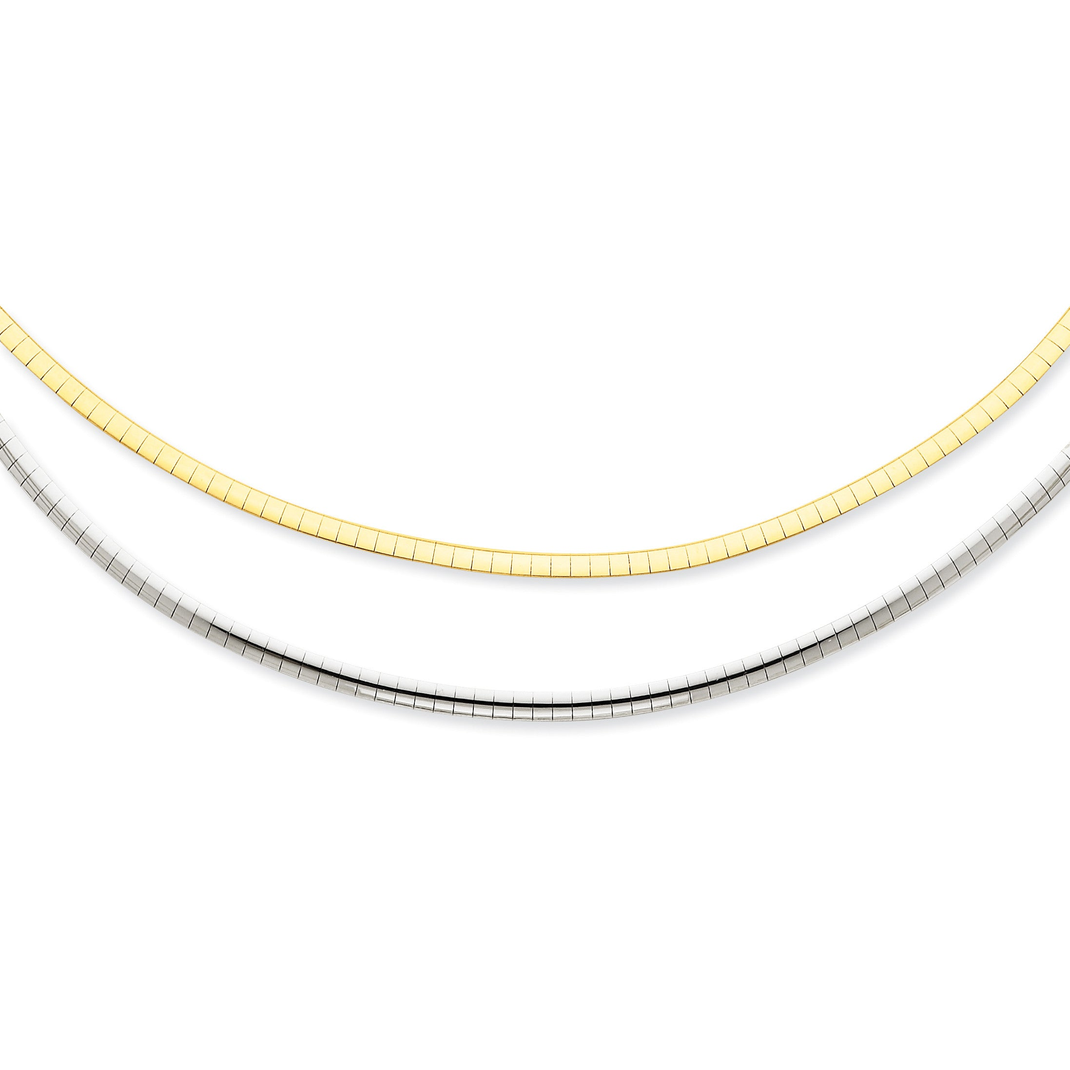 14k Two-tone 2.5mm Reversible Omega Necklace SF1448 - shirin-diamonds