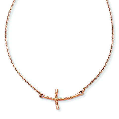 14k Rose Gold Small Sideways Curved Twist Cross Necklace SF2088 - shirin-diamonds