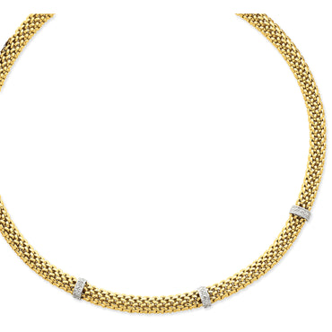 14k Two-Tone 17in .05ct Completed Polished Diamond & Mesh Necklace SF607 - shirin-diamonds