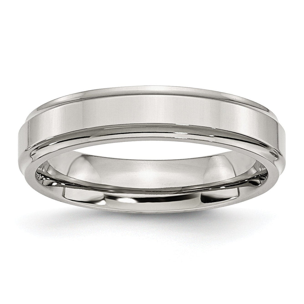 Stainless Steel Ridged-Edge 5mm Polished Band - shirin-diamonds