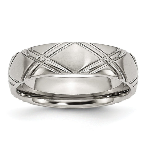 Stainless Steel Criss-cross Design 6mm Brushed and Polished Band - shirin-diamonds