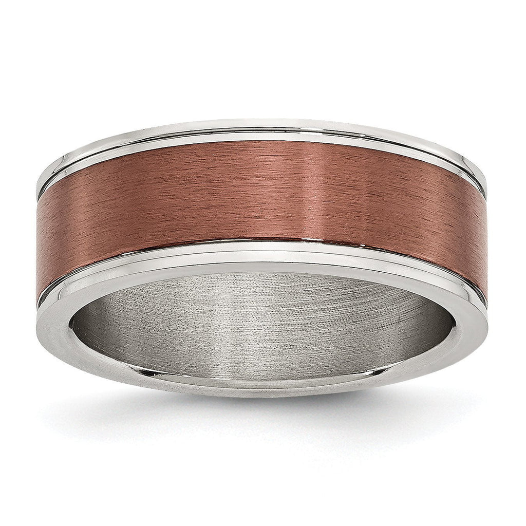 Stainless Steel 8mm Brown IP-plated Brushed & Polished Band - shirin-diamonds