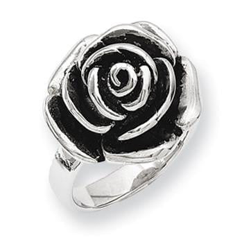 Stainless Steel Antiqued Flower Ring - shirin-diamonds