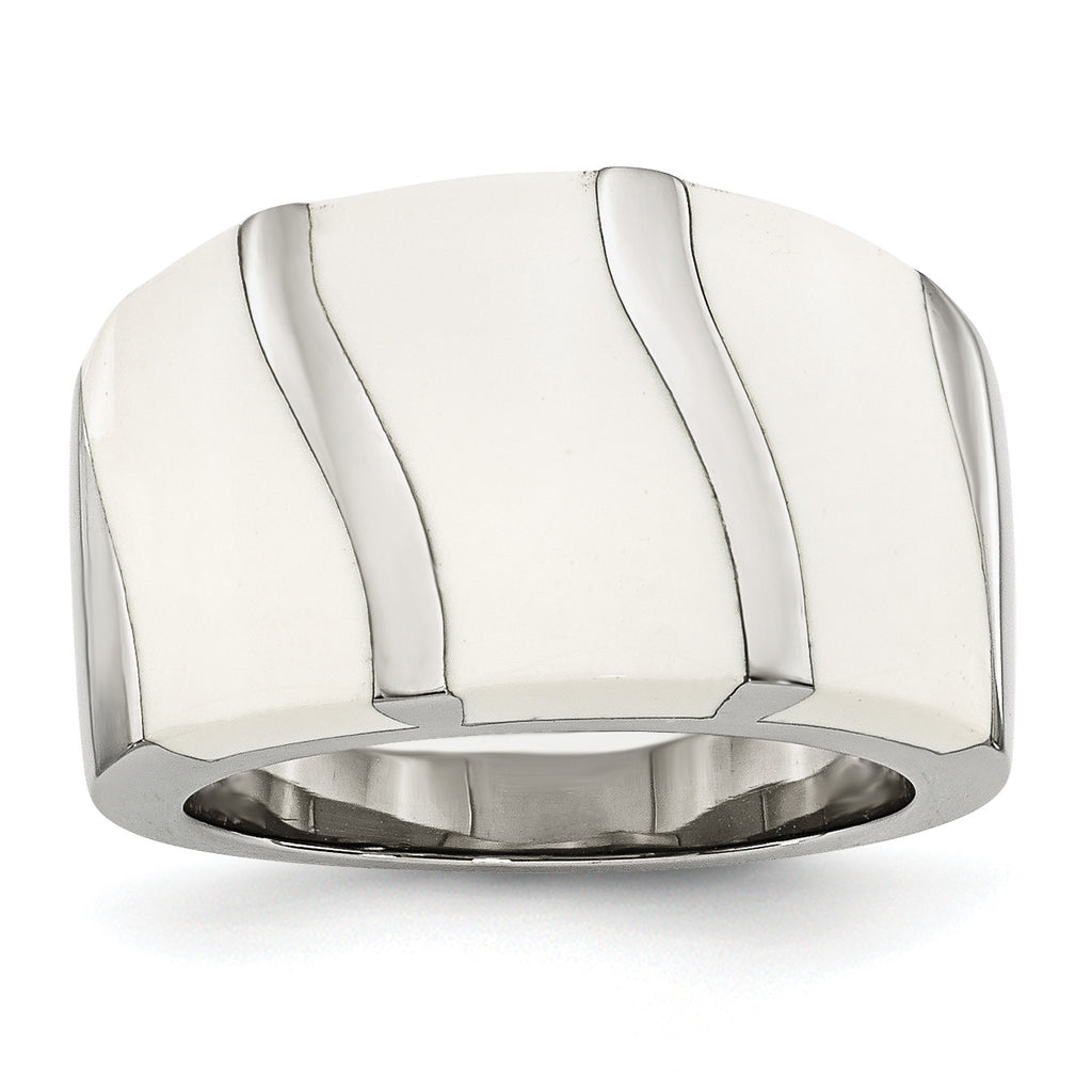 Stainless Steel White Enamel Ring SR194 - shirin-diamonds