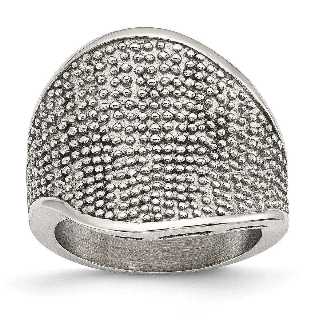 Stainless Steel Textured Ring - shirin-diamonds