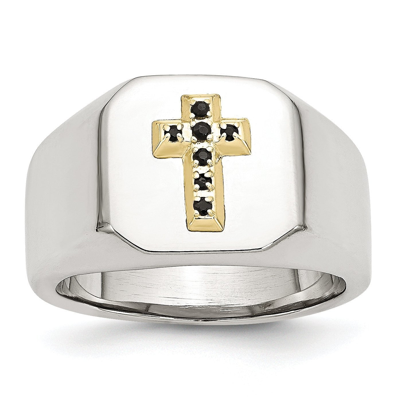 Stainless Steel & 14k w/ Sapphire Cross Ring - shirin-diamonds