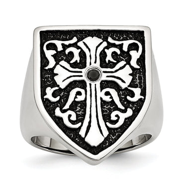 Stainless Steel Cross w/Black Diamond Antiqued Shield Ring - shirin-diamonds