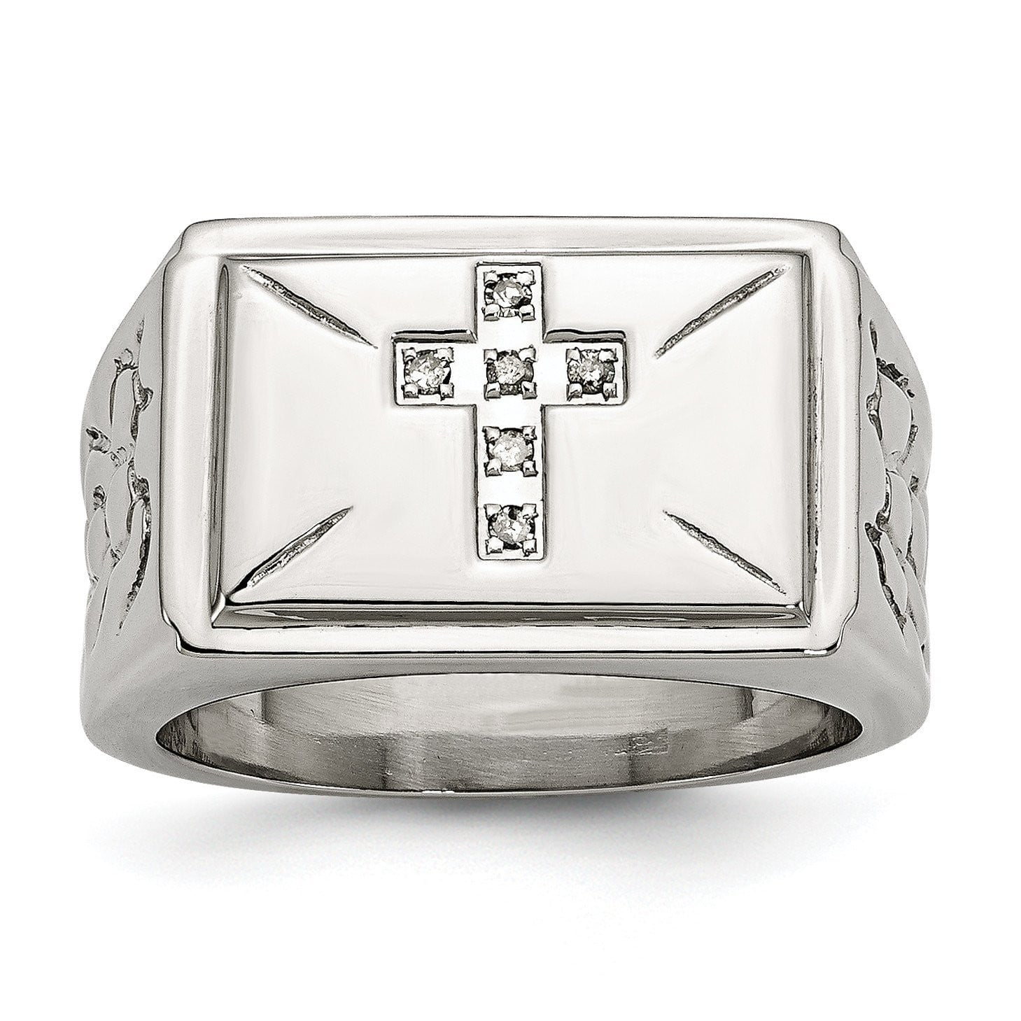 Stainless Steel Diamond Cross w/Textured Sides Ring - shirin-diamonds