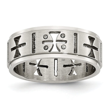 Stainless Steel Cutout Crosses w/Diamonds Ring - shirin-diamonds