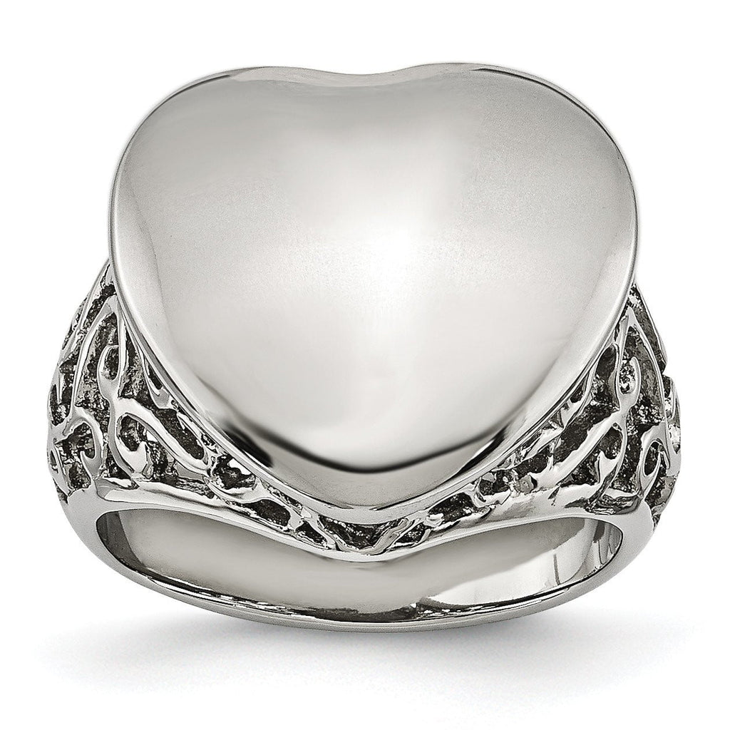 Stainless Steel Polished Heart Ring - shirin-diamonds