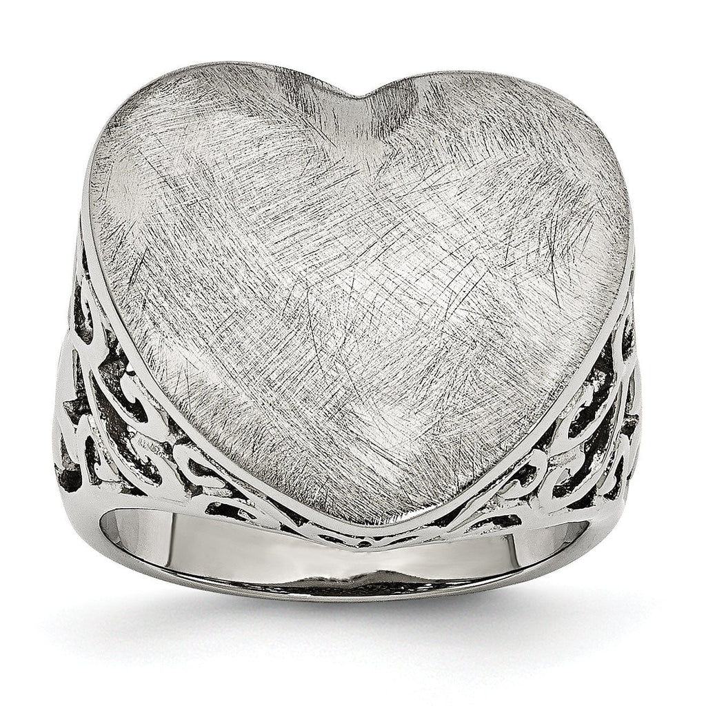 Stainless Steel Matte Heart Size 8 Ring - shirin-diamonds