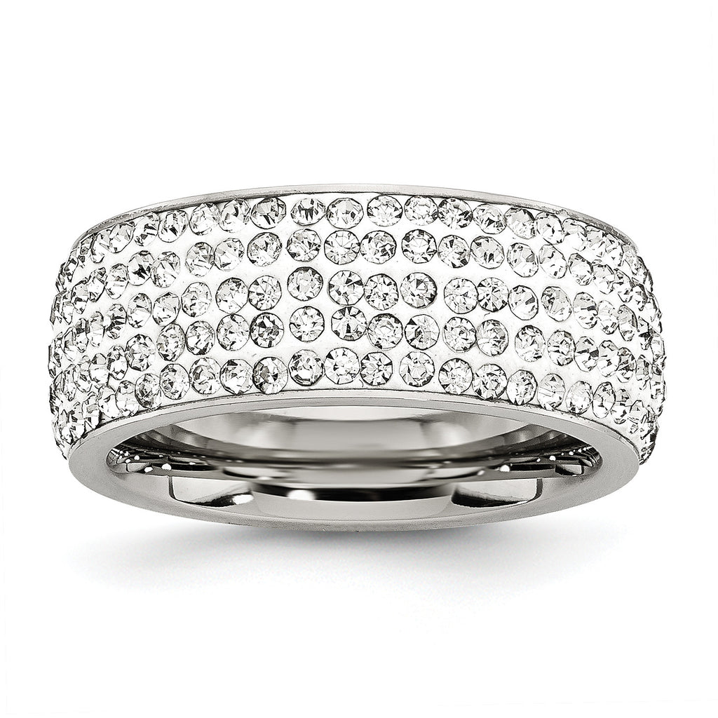 Stainless Steel Crystal 9mm Eternity Ring SR243 - shirin-diamonds