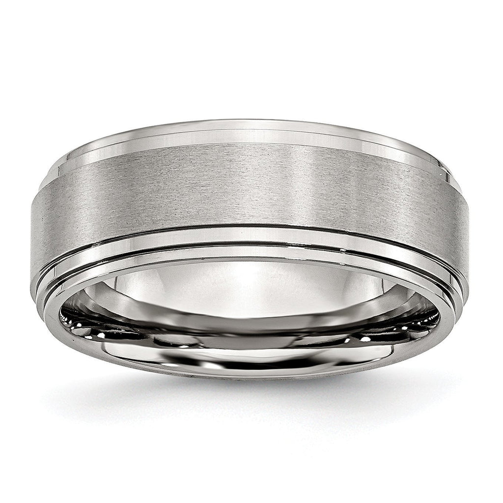 Stainless Steel Ridged Edge 8mm Brushed and Polished Band - shirin-diamonds