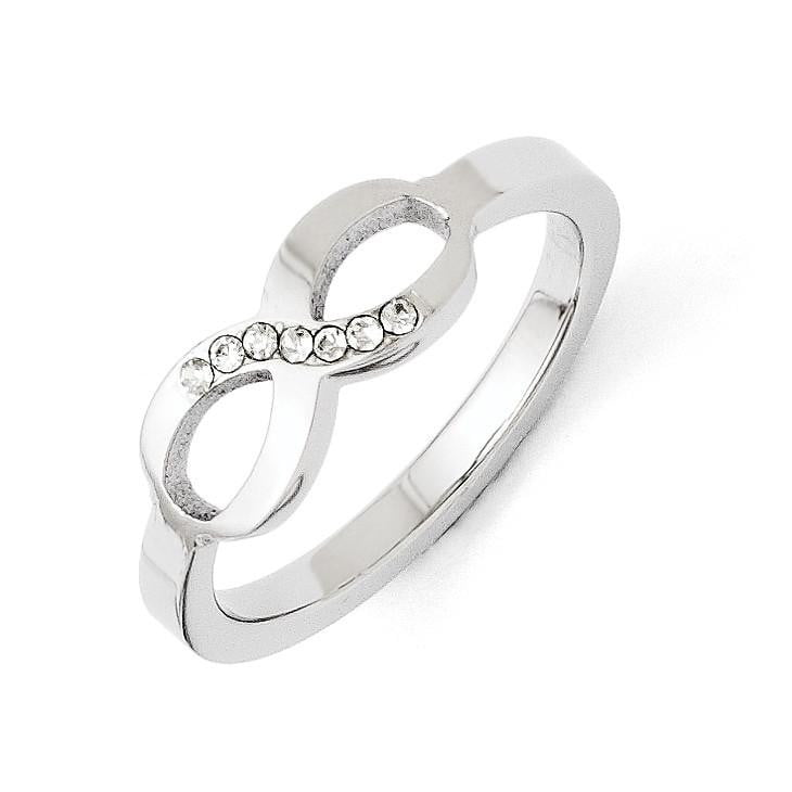 Stainless Steel Polished Infinity Symbol CZ Ring - shirin-diamonds