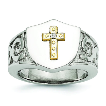 Stainless Steel with 10K Gold Cross and .02ct Diamond Polished Ring - shirin-diamonds