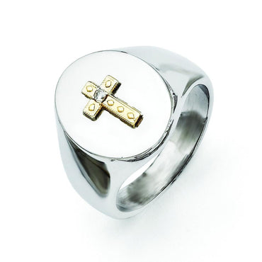 Stainless Steel with 10K Gold Cross and Diamond Polished Ring - shirin-diamonds
