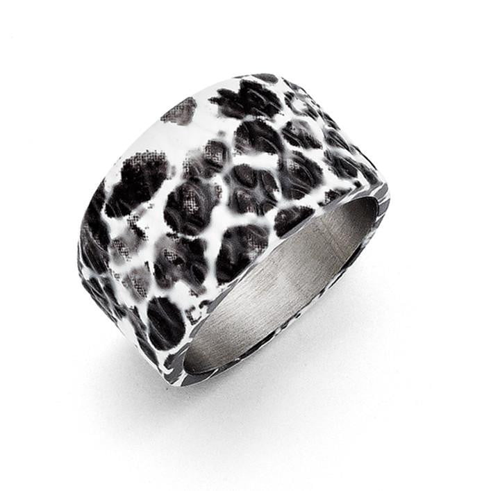 Stainless Steel Polished Black and White Textured Ring - shirin-diamonds