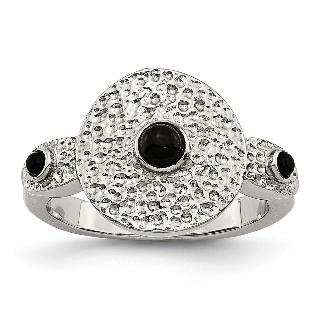 Stainless Steel Polished and Textured Black Onyx Ring SR373 - shirin-diamonds