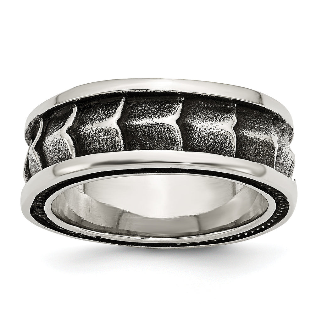 Stainless Steel Polished and Antiqued 9mm Band SR422 - shirin-diamonds