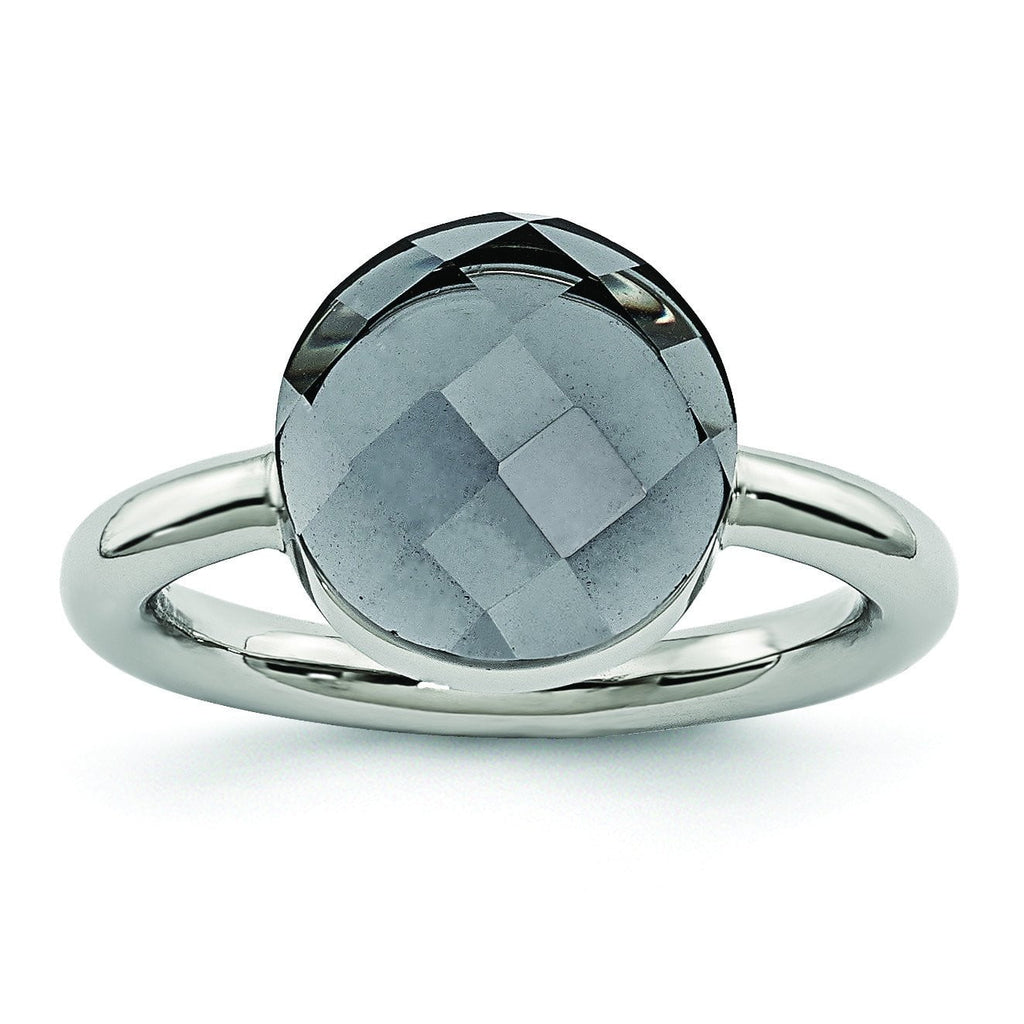 Stainless Steel Polished Grey Glass Ring - shirin-diamonds