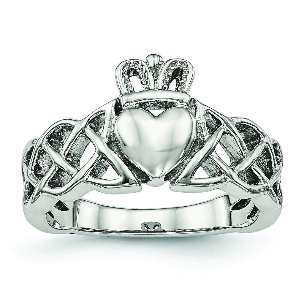 Stainless Steel Polished Claddagh Ring - shirin-diamonds
