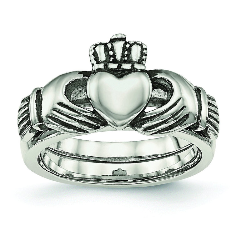 Stainless Steel Love, Loyalty, Friendship Claddagh Double Hinged Ring - shirin-diamonds
