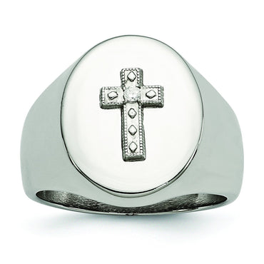Stainless Steel Polished Cross CZ Signet Ring - shirin-diamonds