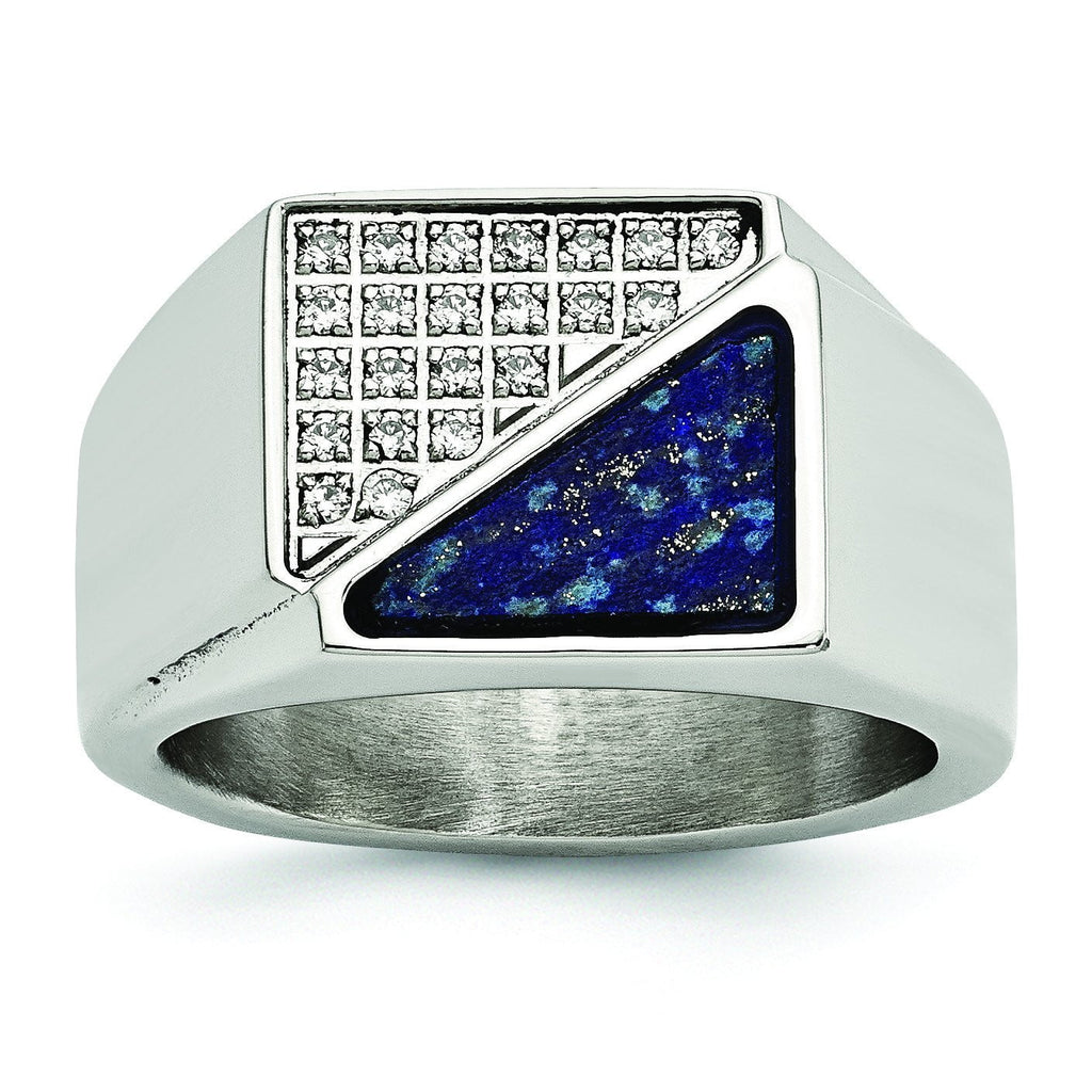 Stainless Steel Polished with Lapis Lazuli Inlay and CZ Ring