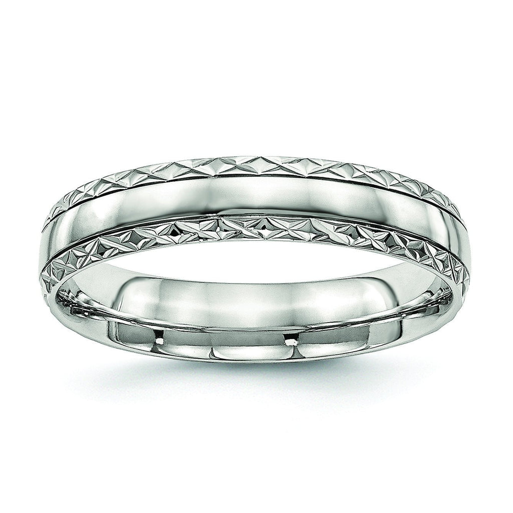 Stainless Steel Polished Grooved Criss Cross Design Ring - shirin-diamonds