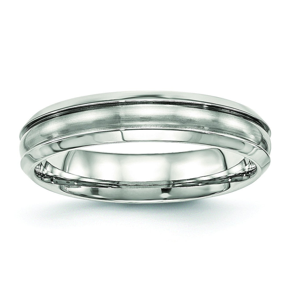 Stainless Steel Brushed and Polished Ridged 5.00mm Band - shirin-diamonds
