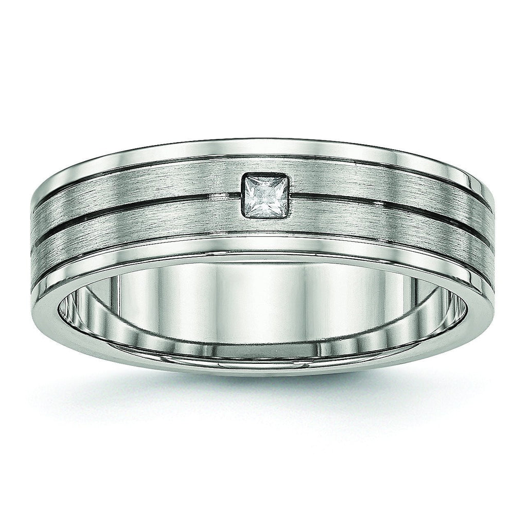Stainless Steel Brushed and Polished Grooved CZ Ring - shirin-diamonds