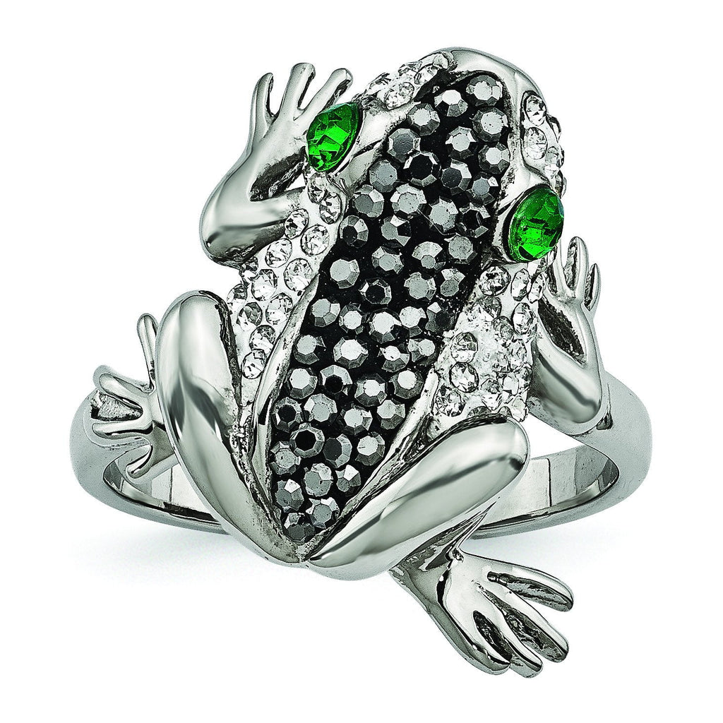 Stainless Steel Polished with Crystal Frog Ring - shirin-diamonds