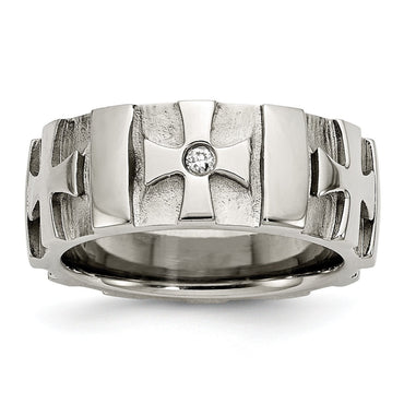 Stainless Steel Crosses w/Diamond 9.00mm Brushed & Polished Band - shirin-diamonds