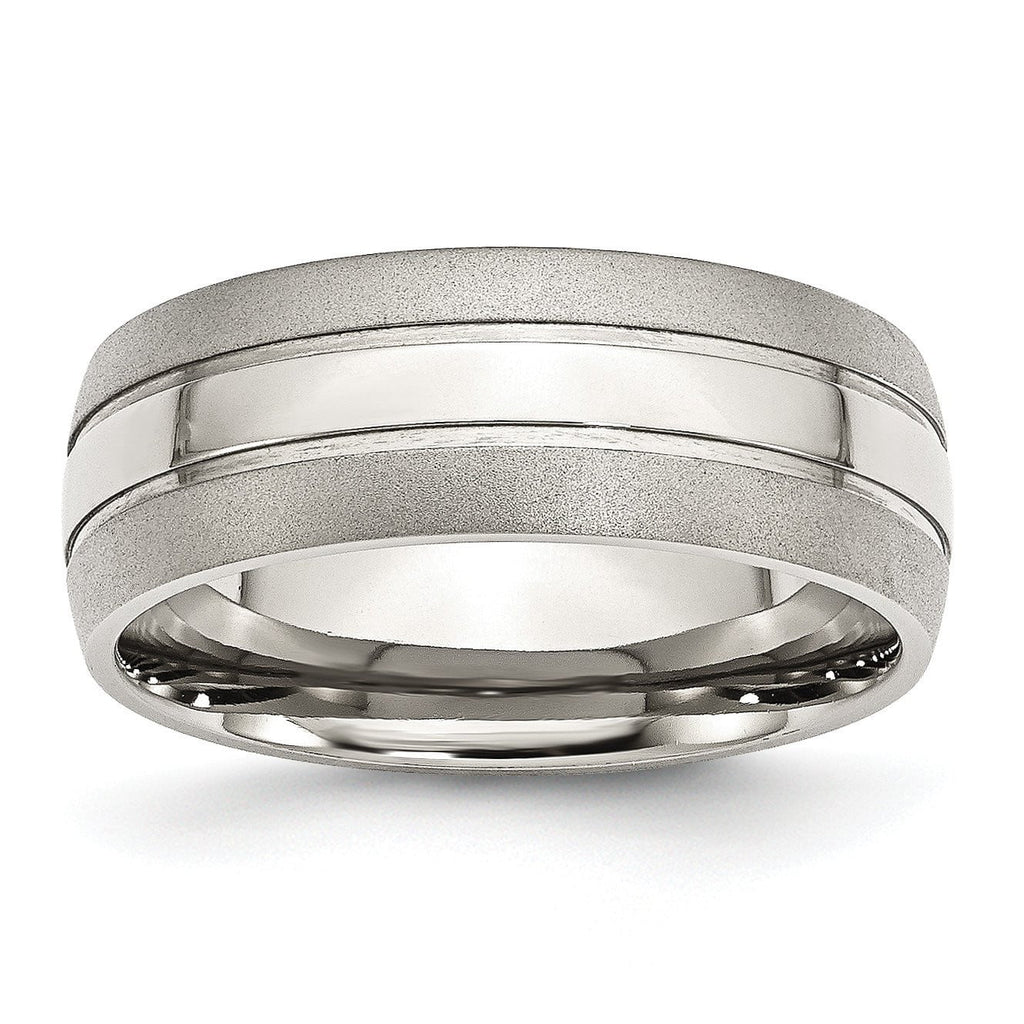 Stainless Steel Grooved 8mm Brushed and Polished Band - shirin-diamonds