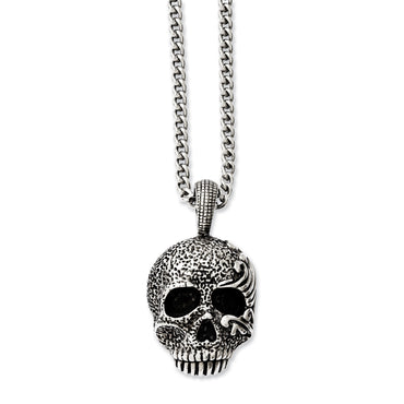Stainless Steel Antiqued & Textured Skull 24in Necklace SRN1042 - shirin-diamonds