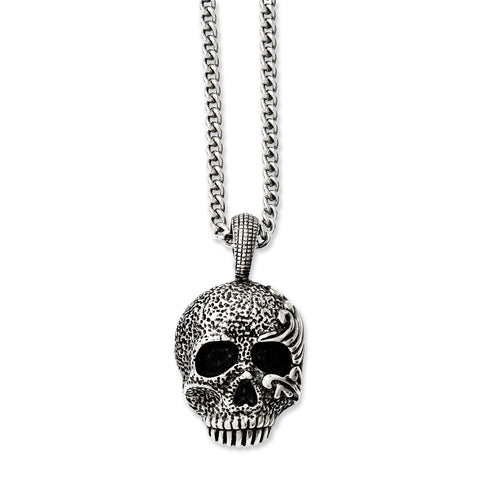 Stainless Steel Antiqued & Textured Skull 24in Necklace SRN1042-24