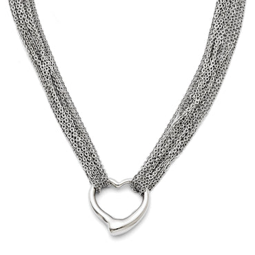 Stainless Steel Multi Strand Polished Heart Toggle Necklace SRN1281 - shirin-diamonds