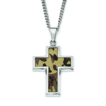StainlessSteel Polished Printed BrownCamo Under RubberCross Necklace SRN1807 - shirin-diamonds