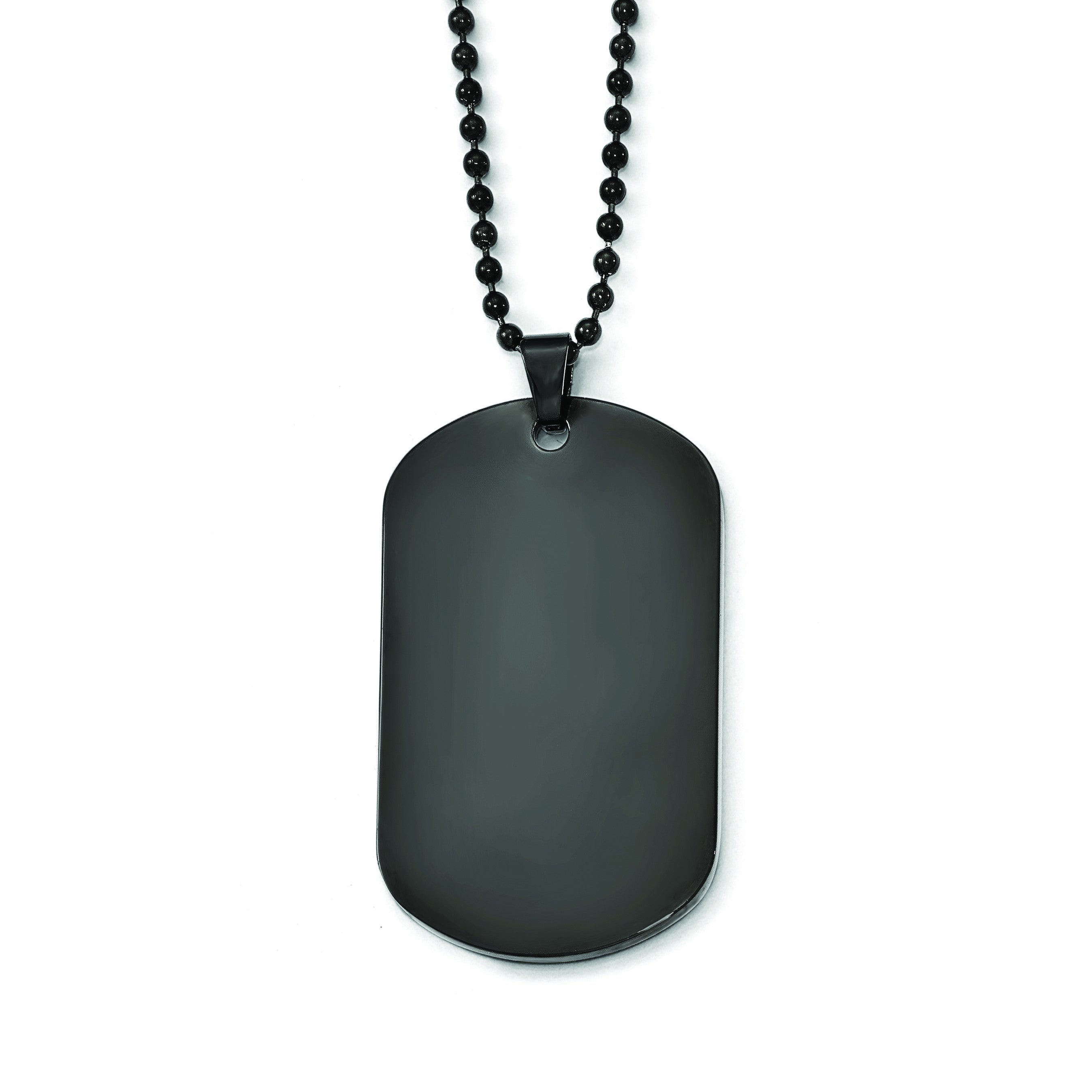 Stainless Steel Polished Black IP Dog Tag Necklace SRN1924 - shirin-diamonds